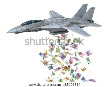 warplane launching euro banknotes instead of bombs, 3d illustration