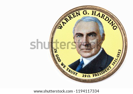 Warren G. Harding Presidential Dollar, USA coin a portrait image of WARREN G. HARDING in God We Trust 29th PRESIDENT 1921 -1923 on $1 United Staten of Amekica, Close Up UNC Uncirculated - Collection #1194117334