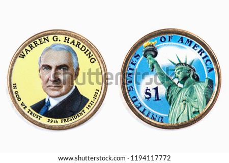 Warren G. Harding Presidential Dollar, USA coin a portrait image of WARREN G. HARDING in God We Trust 29th PRESIDENT 1921 -1923 on $1 United Staten of Amekica, Close Up UNC Uncirculated - Collection #1194117772