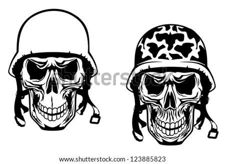Stock Photo Warrior and pilot skulls in military helmets, such as idea of logo. Vector version also available in gallery