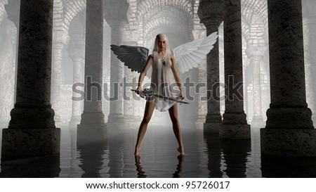 Stock Photo warrior angel in dark chamber