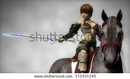 warrior girl with sword on horse