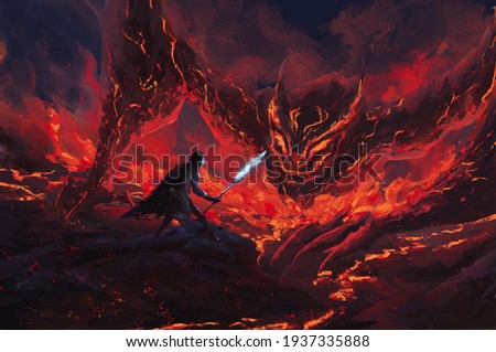 Warrior holding a frost spear standing confront lava dragon in the flames,tale monster,creatures of myth and Legend ,digital art, Illustration painting. Foto stock ©