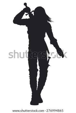 Stock Photo Warrior man silhouette. Stylized silhouette of a walking warrior. The man is pulling out the sword on his back