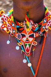 Warrior of the Samburu tribe with its traditional ornamentation. Samburu National Park in Kenya, Africa