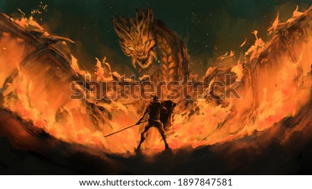Warrior standing confront dragon in the flames,Monster tale ,Creatures of myth and legend ,digital art, Illustration painting. Foto stock ©