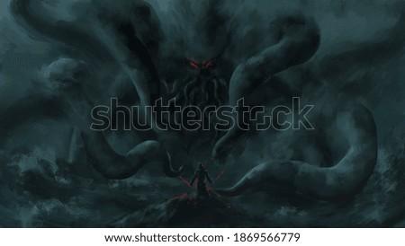 warrior standing looking Cthulhu,Cosmic monster, sea monster,strom bad weather ,digital art, Illustration painting.
