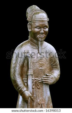 Warrior statue near The Tomb of Minh Mang (1820-1840) (Hue, Vietnam) - stock photo