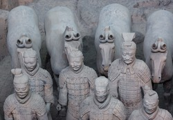 Warriors of famous Terracotta Army in Xian China - travel background