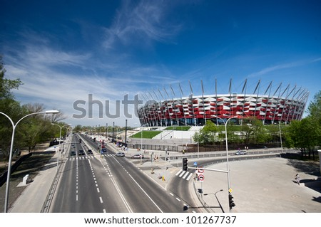 WARSAW - APRIL 29: Construction site of Poland's National Stadium one year before the Euro 2012 on April 29, 2012. Poland and Ukraine will co-host the 2012 European Football Championship