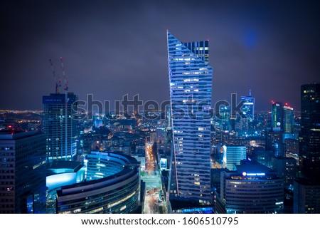 warsaw at night, warsaw nightlife, skyscrapers in Warsaw, Złota 44 at night Zdjęcia stock ©