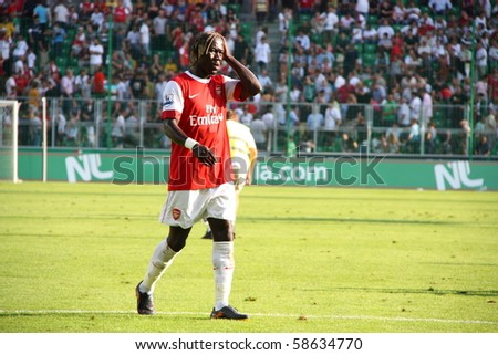 WARSAW - AUGUST 7 : Bacary Sagna (Arsenal London) during the friendly match between Legia Warsaw and Arsenal London at new opened Legia Warsaw Stadium on August 7, 2010 in Warsaw, Poland.