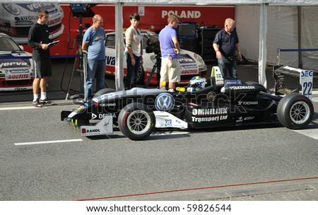 WARSAW - AUGUST 21: Formula 3 Race Car in the paddock, at the Verva Street Race - on August 21, 2010 in Warsaw, Poland