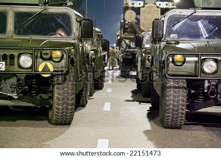 WARSAW - AUGUST 14: HMMWV on night practice military parade before celebrations of the Polish Armed Forces Day August 14, 2007 in Warsaw, Poland.