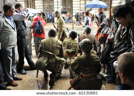 WARSAW - AUGUST 29: Participants of defense of Warsaw against the German invasion (at the beginning of World War II), reenact the Polish soldiers on August 29, 2010 in Warsaw, Poland.