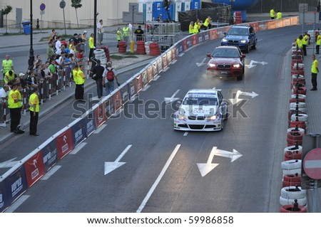WARSAW - AUGUST 21: Racing car, at the Verva Street Race - on August 21, 2010 in Warsaw, Poland - stock photo