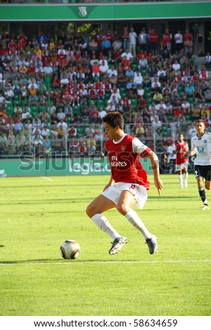 WARSAW - AUGUST 7 : Samir Nasri (Arsenal London) during the friendly match between Legia Warsaw and Arsenal London at new opened Legia Warsaw Stadium on August 7, 2010 in Warsaw, Poland.