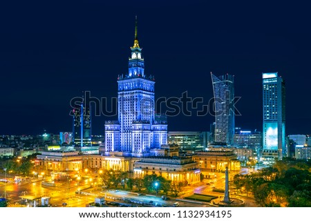 Warsaw city at night, Poland #1132934195