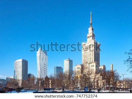 Warsaw city center with Palace of Culture and Science  a landmark and symbol of Stalinism and communism  #747752374