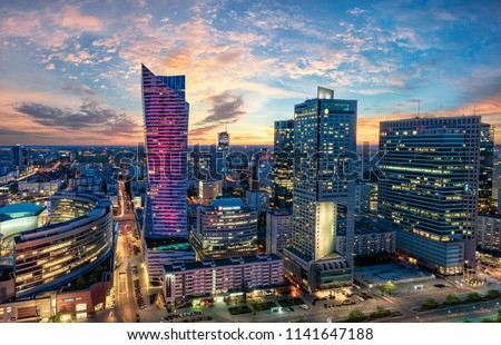Warsaw city with modern skyscraper at sunset