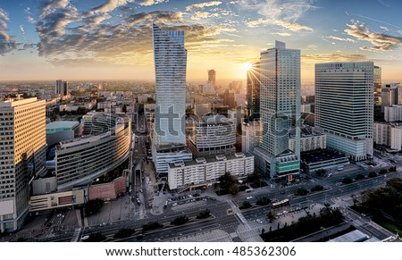 Warsaw city with modern skyscraper at sunset, Poland #485362306