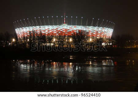 WARSAW - FEBRUARY 29: Illumination of the facade National Stadium in Warsaw  on February 29, 2012 in Warsaw, Poland. At this stadium will be the opening match of Euro 2012.