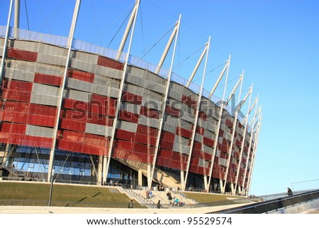 WARSAW - JANUARY 29 : New open National Stadium in Warsaw during open day for fans on January 29, 2012 in Warsaw, Poland. The National Stadium is due to host the opening match of the UEFA Euro 2012.