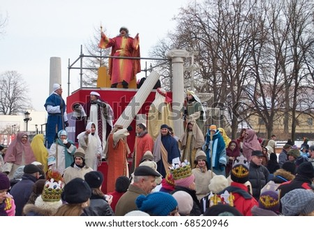 WARSAW - JANUARY 06: Reenactment biblical scene of the court of King Herod during the annual Three Kings Day Parade on January 06, 2011 in Warsaw, Poland.