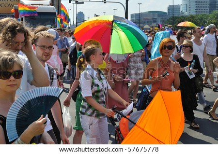 WARSAW - JULY 17: Participants in the EuroPride Parade on July 17, 2010 in Warsaw, Poland. - stock photo