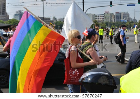 WARSAW - JULY 17: Participants in the EuroPride Parade on July 17, 2010 in Warsaw, Poland.