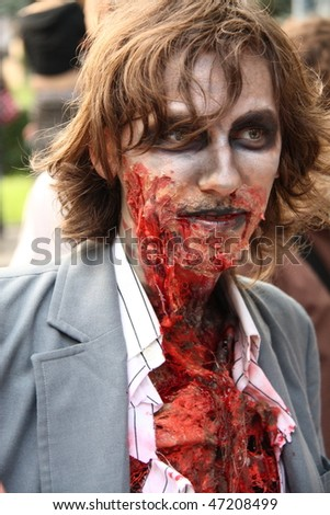WARSAW - JUNE 27: Close-up of participant at Zombies Parade in Warsaw, Poland on June 27, 2009 in Warsaw, Poland.