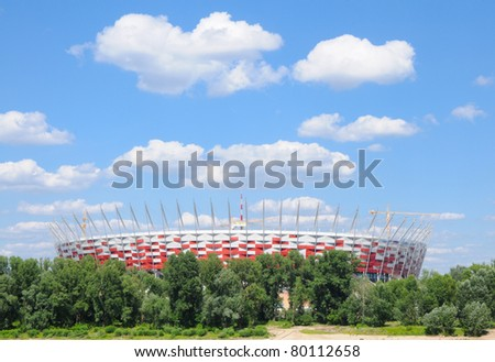 WARSAW - JUNE 13:Construction site of Poland's National Stadium one year before the Euro 2012 on June 13, 2011. Poland and Ukraine will co-host the 2012 European Football Championship.