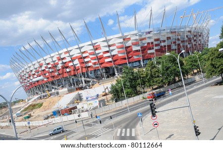 WARSAW - JUNE 13: Construction site of Poland's National Stadium one year before the Euro 2012 on June 13, 2011. Poland and Ukraine will co-host the 2012 European Football Championship. - stock photo