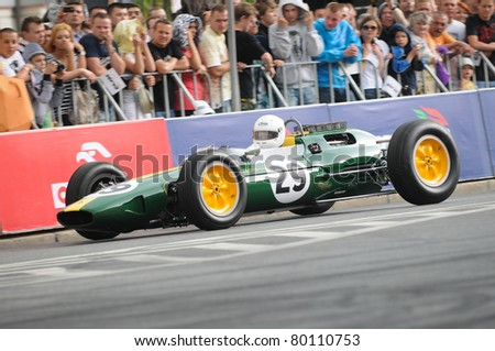WARSAW - JUNE 18: Formula One racing car Lotus 25 during VERVA Street Racing Show on June 18, 2011 in Warsaw, Poland. It is largest event of its kind held in Poland.
