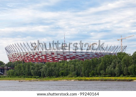 WARSAW - JUNE 6 : The National Stadium - arena in Warsaw, Poland is almost finished. This arena is build especially for Euro 2012 football tournament in Poland, June 6, 2011 in Warsaw, Poland. - stock photo