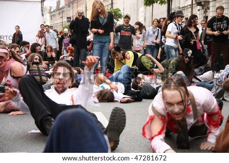 WARSAW - JUNE 27: View of participants at Zombies Parade in Warsaw, Poland on June 27, 2009 in Warsaw, Poland.