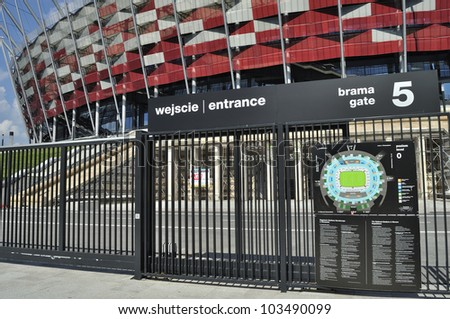 WARSAW - MAY 20: Entrance to the National Stadium on May 20, 2012 in Warsaw, Poland. The stadium is one of the venues for the UEFA Euro 2012 hosted jointly by Poland and Ukraine.
