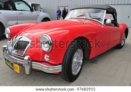 WARSAW - MAY 29: The roadster - MG MGA 1956 on display at the classic car exhibition MOTO NOSTALGIA on May 29, 2011 in Warsaw, Poland. - stock photo