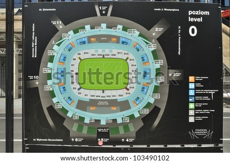 WARSAW - MAY 20: The stadium layout at the entrance to the National Stadium on May 20, 2012 in Warsaw, Poland. The stadium is one of the venues for the UEFA Euro 2012 hosted by Poland and Ukraine. - stock photo
