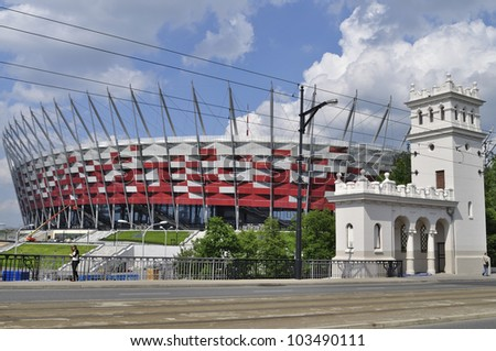 WARSAW - MAY 20: The view from the Poniatowski bridge to the National Stadium on May 20, 2012 in Warsaw, Poland. The stadium is one of the venues for the UEFA Euro 2012 hosted by Poland and Ukraine.