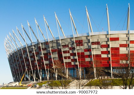 WARSAW - NOVEMBER 28: Construction site of Poland's National Stadium one year before the Euro 2012 on November 28, 2011. Poland and Ukraine will co-host the 2012 European Football Championship.