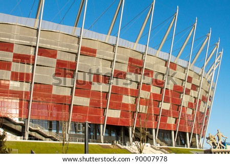 WARSAW - NOVEMBER 28: Construction site of Poland's National Stadium one year before the Euro 2012 on November 28, 2011. Poland and Ukraine will co-host the 2012 European Football Championship. - stock photo