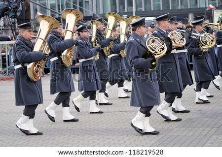 WARSAW - NOVEMBER 11 : Military band at the parade during celebrations of the 92nd anniversary Polish Independence Day on Nov 11, 2010 in Warsaw, Poland.