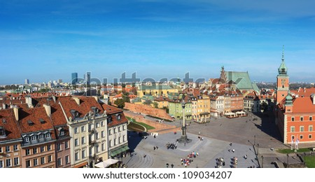 Warsaw old city panorama with castle square