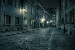 Warsaw, old town by night