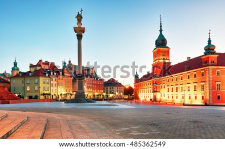 Warsaw, Old town square at night, Poland, nobody #485362549