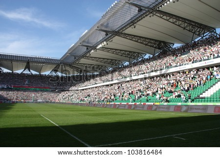 WARSAW, POLAND - APRIL 29: Beautiful Pepsi Arena stadium before the football match between Legia Warsaw vs Jagiellonia Bialystok on April 29, 2012 in Warsaw, Poland. Final results: 1:1