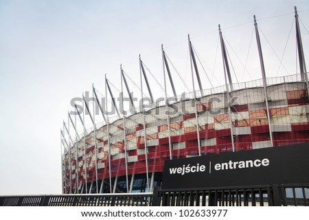 WARSAW, POLAND - APRIL 15, 2012: Entrance of Polish National Stadium ready for the Euro 2012 in April 15, 2012 in Warsaw. - stock photo