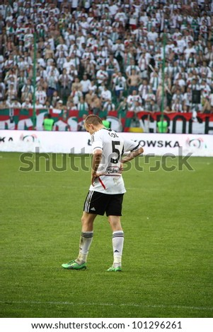 WARSAW, POLAND - APRIL 29: Janusz Gol (Legia) during the league football match between Legia Warsaw vs Jagiellonia Bialystok on April 29, 2012 in Warsaw, Poland. Final results: 1:1