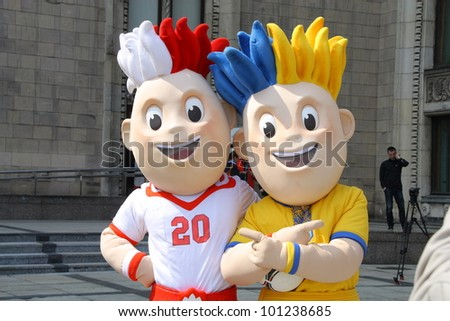 WARSAW, POLAND - APRIL 20: Slavek and Slavko, the UEFA Euro 2012 mascots at the official presentation Henri Delaunay Cup on April 20, 2012 in Warsaw, Poland.